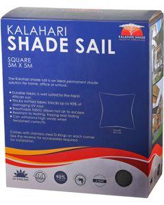 KALAHARI 466059 5X5M SQUARE SHADE SAIL CHARCOAL