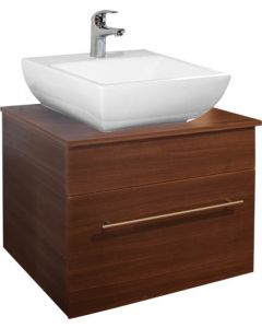 BATHROOM CABINET ELENI AMERICAN WALNUT 600MM INCLUDES BASIN