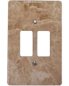 EUROLUX CT6542/220 COVER PLATE 2L 2X4 BROWN MARBLE