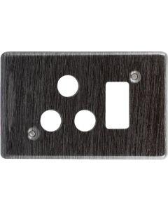 EURO CT6546H/211 COVER PLATE SINGLE SOCKET 4X2 BLACK ALUMINIUM