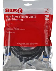 ELLIES BPHDMIBP HIGH SPEED HDMI CABLE WITH ETHERNET 5M