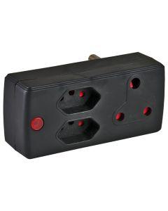 ELECTRICMATE BLACK 1X16A + 2X5A ADAPTOR