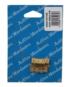 Active Hardware 110020 Brass Single Pin Picture Hook 4-Pack