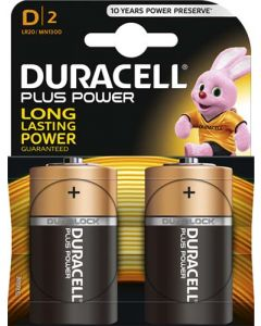 DURACELL DUR001 D BATTERY PACK OF 2