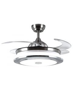 BRIGHT STAR FCF061 SATIN NICKEL RETRACTABLE BLADES CEILING FAN