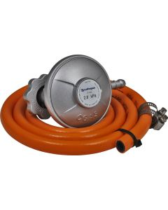 BULLNOSE GAS REGULATOR L-SHAPE WITH 1.2M HOSE AND CLAMPS