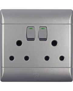 CBI CBIPS675C03-T SILVER SHIMMER SWITCH+SOCKET DOUBLE 4X4