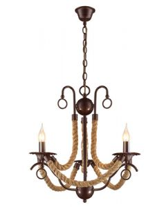BRIGHT STAR CH475/3 BROWN METAL THREE LIGHT WITH ROPE CHANDELIER