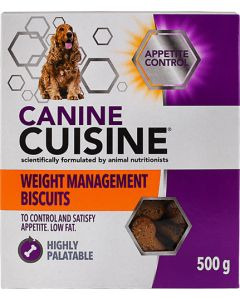 CANINE CUISINE WEIGHT MANAGEMENT APPETITE CONTROL BISCUITS DOG FOOD 500G