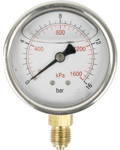 AIRCRAFT SD63BG PRESSURE GAUGE 63MM - 1/4 IN GLYCERINE