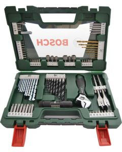 BOSCH 83-PIECE V-LINE TIN DRILL BIT AND SCREW-DRIVER BIT SET WITH LED TORCH AND ADJUSTABLE SPANNER