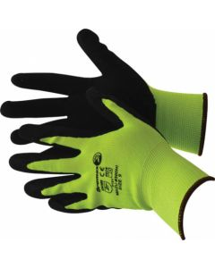 GLOVE LATEX BLACK PALM HI-VIZ SEAMLESS GREEN