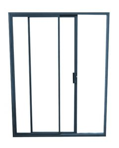 2 PANEL ALUMINIUM CHARCOAL SLIDING DOOR 2.4x2.1