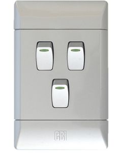 CBI CBIL124C03-T SILVER SHIMMER LIGHT SWITCH + COVER 3L1W 2X4