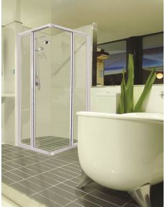 ORIGIN CORNER ENTRY SHOWER DOOR CLEAR/WHITE