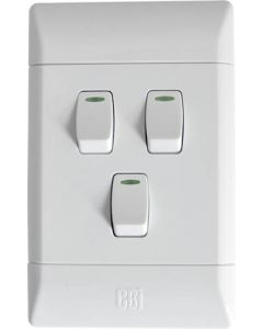 CBI L124-P PVC 3LEVER 1WAY LIGHT SWITCH WHITE