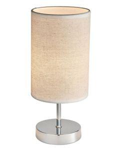 BRIGHT STAR TL629 CHROME HESSIAN SHADE TABLE LAMP