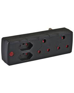 ELECTRICMATE BLACK 2X16A + 2X5A ADAPTOR