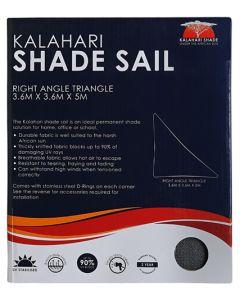 KALAHARI 466011 TRIANGLE CHARCOAL SHADE SAIL 3.6M