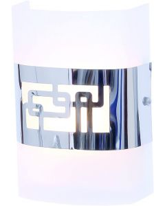 BRIGHT STAR WB1129 GLASS & CHROME SHADE PATTERNED WALL LIGHT