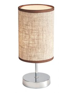 BRIGHT STAR TL630 CHROME LIGHT BROWN SHADE TABLE LAMP