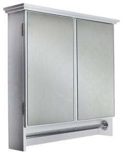 L&G TOOLS ABS6021 DOUBLE MIRROR CABINET WITH STEEL TOWEL RAIL