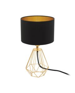 Eurolux T159BG Carlton 2 Table Lamp Copper Metal with Black and Gold Shade E27