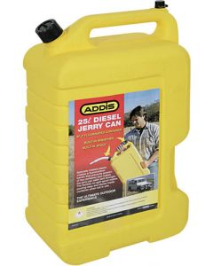 ADDIS 7438YL JERRY CAN 25 LITRE DIESEL YELLOW PLASTIC WITH SPOUT