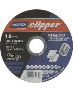 NORTON CLIPPER METAL INOX CUTTING DISC 115X1.0X22.23M 5 PACK