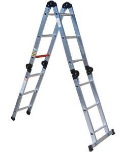 CASTOR AND LADDER ALUMINIUM 4-STAGE MULTI-LADDER