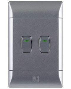CBI L123C03-T 2-LEVER LIGHT SWITCH SILVER SHIMMER
