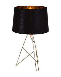 Eurolux T560 Taylor Table Lamp Brass Metal with Black Fabric Shade E27