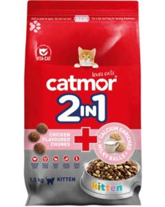 CATMOR 2-IN-1 CHICKEN FLAVOURED CHUNKS KITTEN FOOD 1.5KG