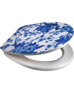 SUPERSEATS GTS20169 CHINESE WHITE & BLUE TOILET SEAT