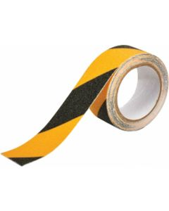 ANTI SLIP TAPE BLACK/YELLOW 48MMX5M ROLL COMMERCIAL HIGH GRIT