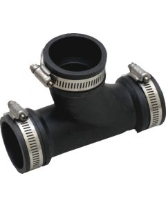 PLUMBING TEE RUBBER BLACK 50MMX63MM FLEXSEAL WITH CLAMPS