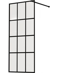 Luximo SHW-GLA-OPTI-DC-002  Black Squares Shower Screen 1m x 2m