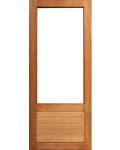 HALF GLASS TOP HORIZONTAL SLATS EXTERIOR HARDWOOD DOOR 813x2032