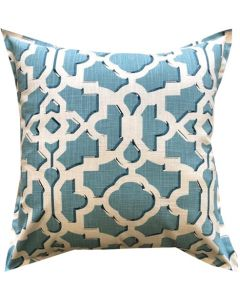 GREY GARDENS AQUA TRELLIS SCATTER CUSHION