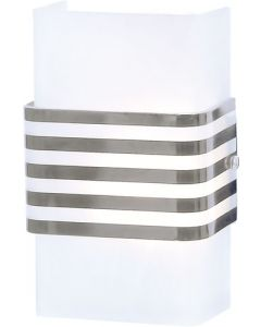 BRIGHT STAR WB1130 GLASS & STRIPED CHROME SHADE WALL LIGHT