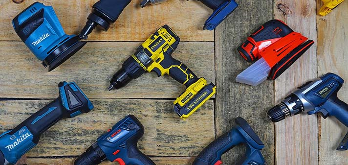 an assortment of power tools